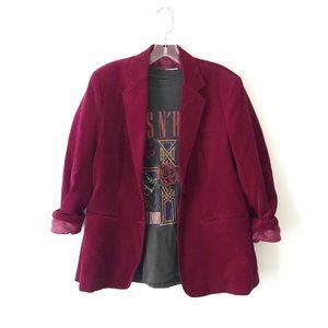 VINTAGE • 80's • burgundy oversized velvet blazer